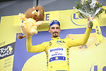 Race leader Julian Alaphilippe (FRA) Deceuninck-Quick Step loses time but retains the Yellow Jersey at the end of Stage 15 of the 2019 Tour de France running 185km from Limoux to Foix Prat d'Albis, France. 20th July 2019.<br /> Picture: Colin Flockton | Cyclefile<br /> All photos usage must carry mandatory copyright credit (© Cyclefile | Colin Flockton)