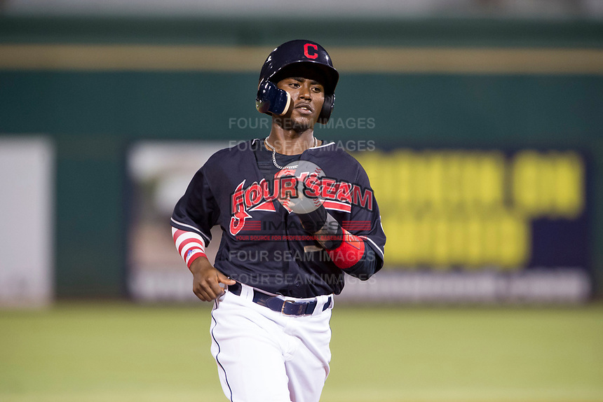 AZL Indians left fielder Gabriel Mejia (32) hustles to third base during a rehab start against the AZL Rangers on August 26, 2017 at Goodyear Ball Park in Goodyear, Arizona. AZL Indians defeated the AZL Rangers 5-3. (Zachary Lucy/Four Seam Images)