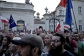 Warsaw, Poland, 20/07/2017:<br /> Anti-Pis government protesters during evening rally by the Presidential Palace,  after the bill to change the way of electing the Supreme Court judges, which  curbs rule of law in Poland has been passed.<br /> Photo by Piotr Malecki /  Napo Images<br /> <br /> Warszawa, 20/07/2017<br /> &quot;Swiatelko&quot;, protestujacy pod palacem prezydenckim  po tym jak ustawa zmieniajaca sposob wybierania sedziow Sadow Najwyzszego zostala uchwalona.<br /> Fot: Piotr Malecki / Napo Images
