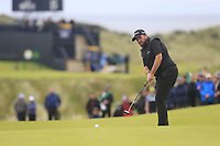 Shane Lowry (IRL) putts on the 16th green during Sunday's Final Round of the 148th Open Championship, Royal Portrush Golf Club, Portrush, County Antrim, Northern Ireland. 21/07/2019.<br /> Picture Eoin Clarke / Golffile.ie<br /> <br /> All photo usage must carry mandatory copyright credit (© Golffile | Eoin Clarke)