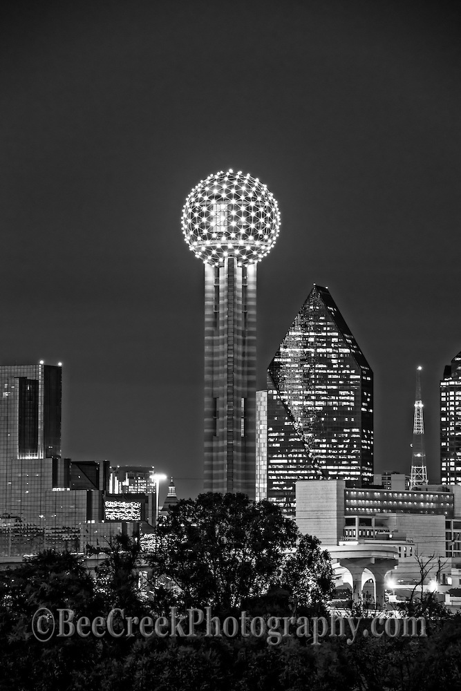 This an image of the Dallas Reunion Tower with the Fountain Place and Hyatt Regency Hotel in Black and White in the scene.  It is a nice cityscape image of Dallas Reunion Tower.