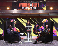 "LOS ANGELES - JANUARY 25: Heidi Androl interviews Deontay Wilder and Tyson Fury during a Los Angeles press conference on January 25, 2020 for the ""Wilder vs Fury II"" FOX SPORTS PPV & ESPN+ PPV which will take place on Feb. 22 from the MGM Grand Garden Arena in Las Vegas. (Photo by Frank Micelotta/Fox Sports/PictureGroup)"