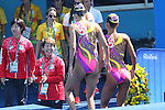 (L-R)  Masayo Imura (JPN),, Yukiko Inui &amp; Risako Mitsui (JPN), <br /> AUGUST 14, 2016 - Synchronized Swimming : <br /> Duets Free Routine Preliminary <br /> at Maria Lenk Aquatic Centre <br /> during the Rio 2016 Olympic Games in Rio de Janeiro, Brazil. <br /> (Photo by Yohei Osada/AFLO SPORT)