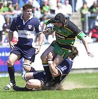 01/06/2002.Sport - Rugby - Zurich Championship.Bristol v Northampton.Craig Moir tackled by Bristol defenders   [Mandatory Credit, Peter Spurier/ Intersport Images].