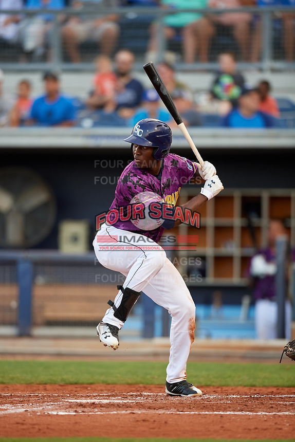 Charlotte Stone Crabs right fielder Jesus Sanchez (4) at bat during a game against the Palm Beach Cardinals on April 21, 2018 at Charlotte Sports Park in Port Charlotte, Florida.  Charlotte defeated Palm Beach 5-2.  (Mike Janes/Four Seam Images)