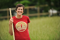 NWA Democrat-Gazette/ANDY SHUPE<br /> Kyra Ramsey, co-executive director for Apple Seeds, Inc., poses for a photograph Thursday, May 28, 2015, at the farm in Fayetteville. Apple Seeds is a nonprofit farm that provides nutrition and urban farming instruction in Fayetteville.