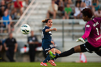 Portland Thorns goalkeeper Karina LeBlanc (1) parries a shot by Sky Blue FC forward Lisa De Vanna (11). Sky Blue FC and the Portland Thorns played to a 0-0 tie during a National Women's Soccer League (NWSL) match at Yurcak Field in Piscataway, NJ, on June 22, 2013.