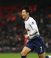 Tottenham Hotspur's Son Heung-Min celebrates scoring his side's third goal <br /> <br /> Photographer Rob Newell/CameraSport<br /> <br /> The Premier League - Tottenham Hotspur v Southampton - Wednesday 5th December 2018 - Wembley Stadium - London<br /> <br /> World Copyright © 2018 CameraSport. All rights reserved. 43 Linden Ave. Countesthorpe. Leicester. England. LE8 5PG - Tel: +44 (0) 116 277 4147 - admin@camerasport.com - www.camerasport.com