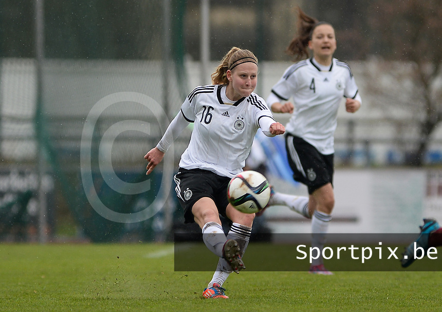 20150404 - FORST , GERMANY  : German Saskia Matheis pictured during the soccer match between Women Under 19 teams of Germany and Scotland , on the first matchday in group 5 of the UEFA Elite Round Women Under 19 at WaldseeStadion , Forst , Germany . Saturday 4th April 2015 . PHOTO DAVID CATRY