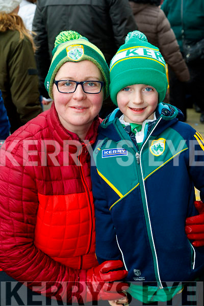 Caroline and Eanna Leahy, Abbeydorney, cheering on Kerry at the Allianz Football League Kerry v Galway, at Austin Park, Tralee, on Sunday last.