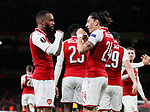 Alexandre Lacazette of Arsenal and Hector Bellerin of Arsenal shadow box as they celebrate the first goal during the Europa League Semi Final 1st Leg, match at the Emirates Stadium, London. Picture date: 26th April 2018. Picture credit should read: David Klein/Sportimage