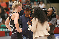 28.01.2017 Silver Ferns Katrina Grant does an interview during the Silver Ferns v Australian Diamonds netball test match played at the International Convention Centre studium in Durban, South Africa.<br />  Mandatory Photo Credit ©Reg Caldecott/Michael Bradley Photography.