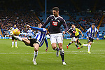 Wednesday's Kieran Lee fails to get a strong touch on a ball in to the box under pressure from Jason Shackell of Derby - Sheffield Wednesday vs Derby County - Skybet Championship - Hillsborough - Sheffield - 06/12/2015 Pic Philip Oldham/SportImage