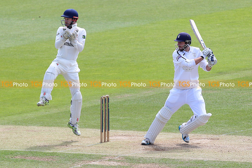 James Vince in batting action for Hampshire as James Foster looks on - Hampshire CCC vs Essex CCC - LV County Championship Division Two Cricket at the Ageas Bowl, West End, Southampton - 17/06/14 - MANDATORY CREDIT: Gavin Ellis/TGSPHOTO - Self billing applies where appropriate - 0845 094 6026 - contact@tgsphoto.co.uk - NO UNPAID USE