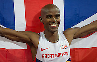Mo Farah of GBR (Men's 3000m) following his victory during the Sainsburys Anniversary Games Athletics Event at the Olympic Park, London, England on 24 July 2015. Photo by Andy Rowland.