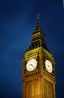 Evening view of the Big Ben clock tower. London, England.