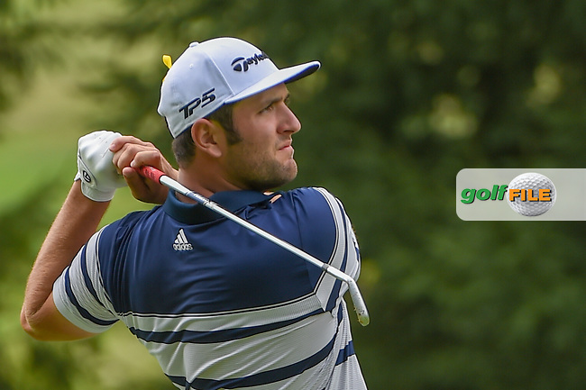 Jon Rahm (ESP) hits his second shot on 16 during 1st round of the World Golf Championships - Bridgestone Invitational, at the Firestone Country Club, Akron, Ohio. 8/2/2018.<br /> Picture: Golffile | Ken Murray<br /> <br /> <br /> All photo usage must carry mandatory copyright credit (© Golffile | Ken Murray)