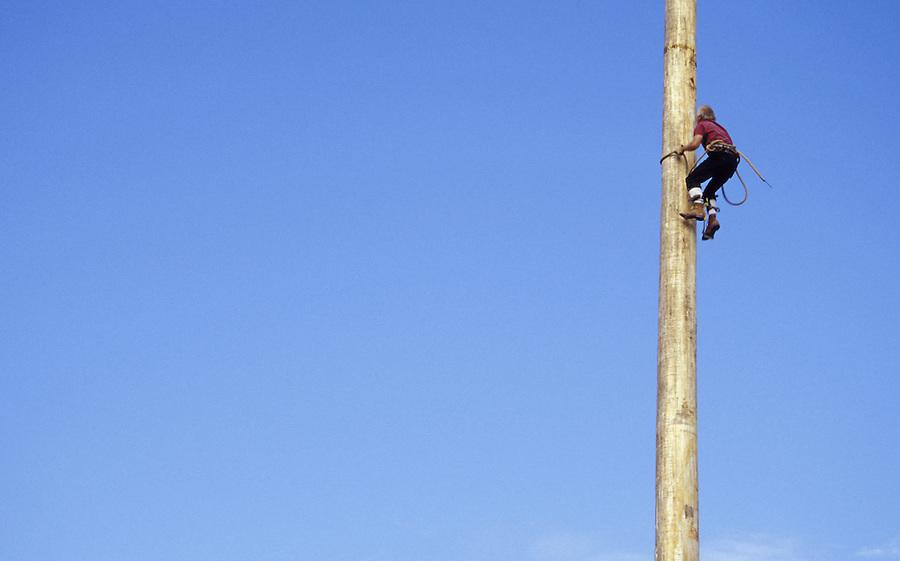 Lumberjack climbing pole in lumberjack show, Snohomish County, Washington State Fair, Monroe, WA