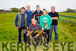 ALL AGE BITCH STAKE winner UPTOWN CAILIN at Abbeydorney Coursing on Sunday pictured Anthony Connell on behalf of Atlantic Oils, John Brown and Ashling Brown. Back l-r  James Burns, Michael Morrissey and Paddy Morrissey.