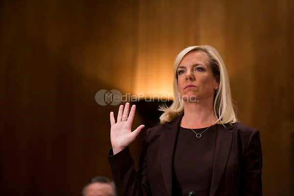 Kirstjen Nielsen is sworn in during her confirmation hearing to be United States Secretary of Homeland Security before the US Senate Homeland Security and Government Affairs Committee on Capitol Hill in Washington, D.C. on November 8th, 2017. <br /> Credit: Alex Edelman / CNP /MediaPunch