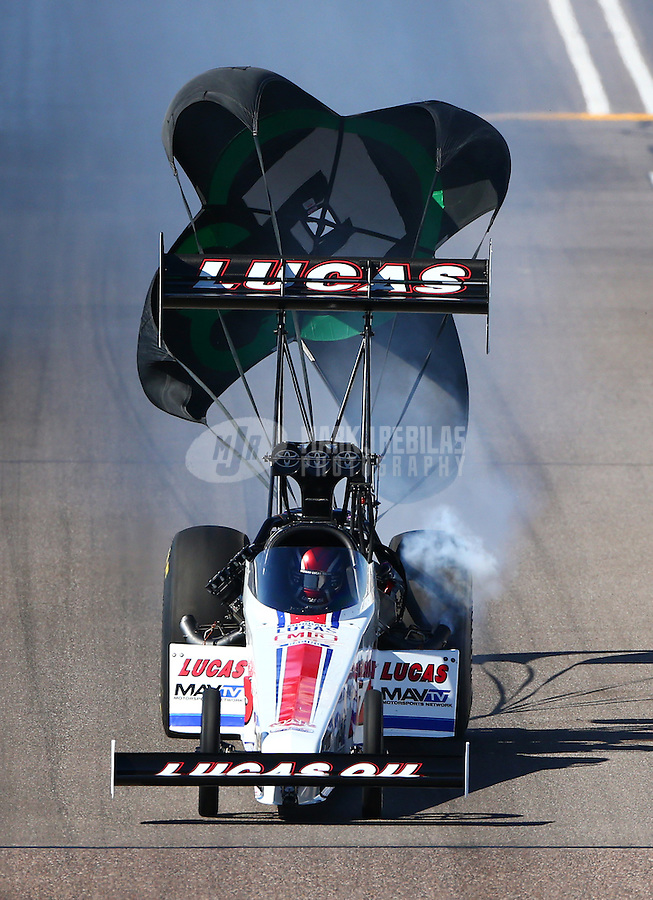 Feb 26, 2016; Chandler, AZ, USA; NHRA top fuel driver Richie Crampton during qualifying for the Carquest Nationals at Wild Horse Pass Motorsports Park. Mandatory Credit: Mark J. Rebilas-