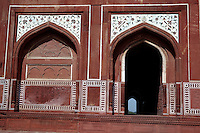 Agra, India.  Side Entrance to the Taj Mahal Mosque.
