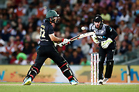 Glenn Maxwell of Australia bats as Tim Seifert of New Zealand looks on. New Zealand Black Caps v Australia, Final of Trans-Tasman Twenty20 Tri-Series cricket. Eden Park, Auckland, New Zealand. Wednesday 21 February 2018. © Copyright Photo: Anthony Au-Yeung / www.photosport.nz
