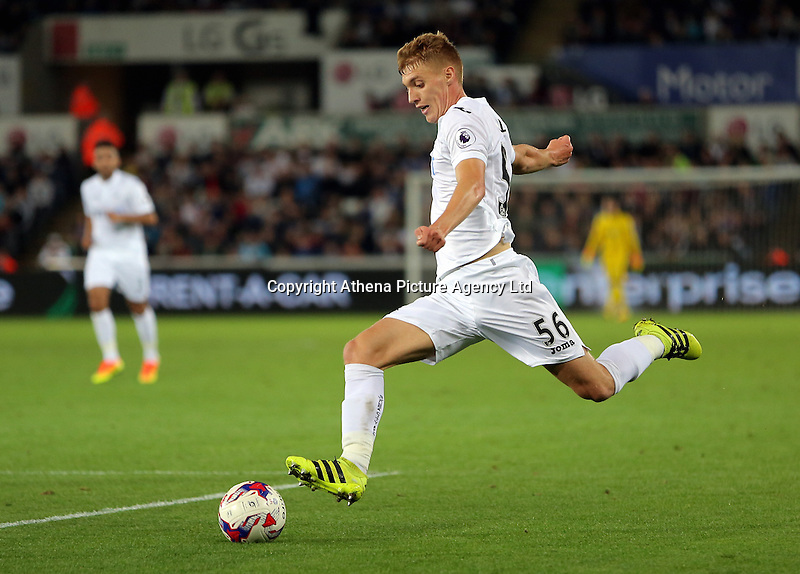 Jay Fulton of Swansea City in action during the EFL Cup Third Round match between Swansea City and Manchester City at The Liberty Stadium in Swansea, Wales, UK. Wednesday 21 September.