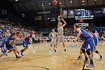 SIOUX FALLS, SD - MARCH 11:  Leah Dietel #21 of South Dakota State shoots a free throw in the first half against IPFW during their semifinal game at the 2013 Summit League Basketball Championships Monday at the SIoux Falls Arena.  (Photo by Dick Carlson/Inertia)