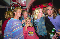 Rock Food cafe in Hossegor France. Sunny Abberton (AUS) Stephen 'Belly' Bell (AUS). Damien Warr (AUS), Mark Phipps (AUS) and Dicky Badger (AUS) out at the Rock Food cafe Hossegor during the ASP pro tour in the South West region of France. circa 1992 Photo: joliphotos.com