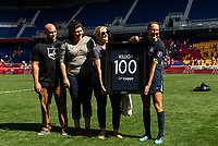 HARRISON, NJ - SEPTEMBER 29: Sarah Killion #16 of Sky Blue FC is honored for her 100th NWSL appearance during a game between Orlando Pride and Sky Blue FC at Red Bull Arena on September 29, 2019 in Harrison, New Jersey.