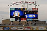 LSU's Alex Box Stadium scoreboard before the NCAA baseball game against the Mississippit State Bulldogs on March 16, 2012 at Alex Box Stadium in Baton Rouge, Louisiana. LSU defeated Mississippi State 3-2 in 10 innings. (Andrew Woolley / Four Seam Images)