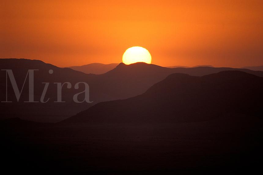 Sunset over mountain in Namib Desert, Namibia, Africa