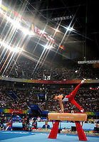 Aug. 9, 2008; Beijing, CHINA; (Editors Note-Special effect lens used in creation of this image) Alexander Artemev (USA) performs on the pommel horse during mens gymnastics qualification during the Olympics at the National Indoor Stadium. Mandatory Credit: Mark J. Rebilas-