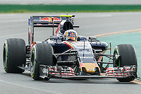 March 18, 2016: Carlos Sainz (ESP) #55 from the Scuderia Toro Rosso team rounds turn 2 during practise session one at the 2016 Australian Formula One Grand Prix at Albert Park, Melbourne, Australia. Photo Sydney Low