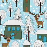 Reindeer Seamless pattern tile vector. Hand drawn style cute winter vector pattern with of a snowy village, cute homes, snow laden trees and reindeer roaming around. <br /> <br /> Available also as latest EPS format (Scalable to infinite size) and PNG format.<br /> <br /> WANT TO SEE HOW THIS WILL LOOK WHEN ARRANGED AS A PATTERN?<br /> <br /> You can find the image of whole pattern put together in this gallery only.<br /> <br /> Tip: It should be the image next to this one, or, just search &quot;seamless+reindeer&quot;!