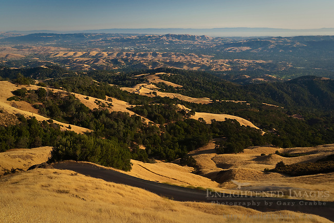 Road through the rolling grass and oak covered hills of Mount Diablo State Park; California