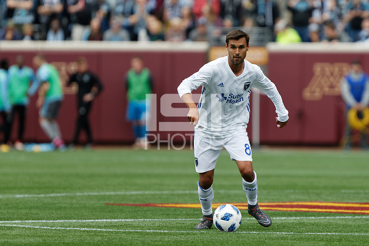 Minneapolis, MN - Saturday May 12, 2018: Minnesota United FC played the San Jose Earthquakes in a Major League Soccer (MLS) game at TCF Bank stadium. Final score Minnesota United FC 1 , San Jose  Earthquakes 3