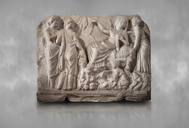 Roman relief sculpture of the Birth of Apollo. Roman 2nd century AD, Hierapolis Theatre.. Hierapolis Archaeology Museum, Turkey