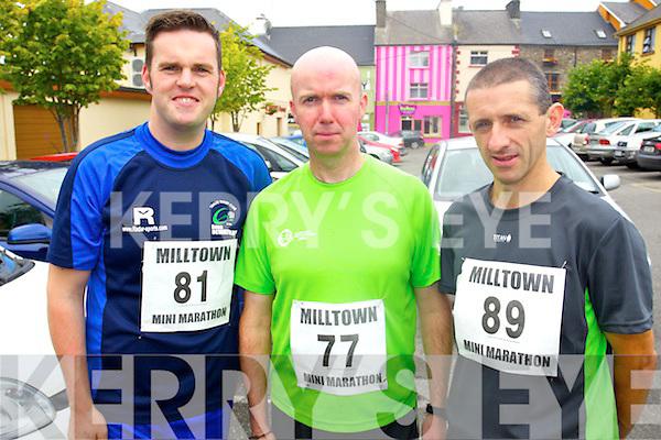 John McGillycuddy (Killorglin) Stephen Griffin (Beaufort) and Noel Lawlor (Castlemaine) who took part in the Milltown Mini Marathon on Sunday.