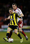 Stuart Beavon of Burton Albion tussles with Neill Collins of Sheffield Utd - English League One - Sheffield Utd vs Burton Albion - Bramall Lane Stadium - Sheffield - England - 1st March 2016 - Pic Simon Bellis/Sportimage