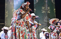 CALI - COLOMBIA. 14-08-2019: El grupo de músca autóctona Socavón hace su presentación durante el primer día del XXIII Festival de Música del Pacífico Petronio Alvarez 2019 el festival cultural afro más importante de Latinoamérica y se lleva acabo entre el 14 y el 19 de agosto de 2019 en la ciudad de Cali. / The group Socavon makes its performance of autochthonous music during the XXII Pacific Music Festival Petronio Alvarez 2019 that is the most important afro descendant cultural festival of Latin America and takes place between August 14 and 19, 2019, in Cali city. Photo: VizzorImage/ Gabriel Aponte / Staff