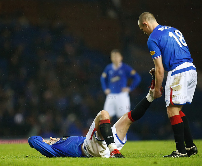 Kris Boyd suffering from cramp and gets a help from Kenny Miller