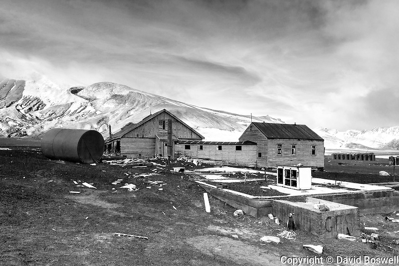 Rusting tanks and ruined buildings are some of the remnants of the bygone whaling era left at an abandoned Norwegian whaling base in Whalers Bay on Deception Island, in the South Shetland Islands near the Antarctic Peninsula.