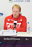 LONDON, ENGLAND 08/28/2012:  Garett Hickling, flag bearer, speaks at Team Canada Preview press conference before the London 2012 Paralympic Games at the Main Press Centre. (Photo by Matthew Murnaghan/Canadian Paralympic Committee)