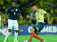 ARMENIA – COLOMBIA, 19-01-2020:<br /> Jorge Carrascal  de Colombia disputa el balón con Anthony Landazuri de Ecuador durante partido entre Colombia y Ecuador por la fecha 2, grupo A, del CONMEBOL Preolímpico Colombia 2020 jugado en el estadio Centenario de Armenia, Colombia. /  Jorge Carrascal of Colombia fights the ball withAnthony Landazuri of Ecuador during the match between Colombia and Ecuador for the date 2, group A, for the CONMEBOL Pre-Olympic Tournament Colombia 2020 played at Centenario stadium in Armenia, Colombia. Photos: VizzorImage / Julian Medina / Cont