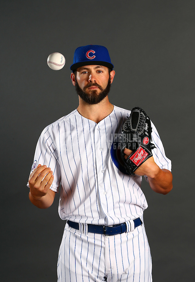 Mar 2, 2015; Mesa, AZ, USA; Chicago Cubs pitcher Jake Arrieta poses for a portrait during photo day at the training center at Sloan Park. Mandatory Credit: Mark J. Rebilas-USA TODAY Sports