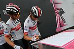UAE Team Emirates at sign on before Stage 15 of the 2019 Giro d'Italia, running 232km from Ivrea to Como, Italy. 26th May 2019<br /> Picture: Gian Mattia D'Alberto/LaPresse | Cyclefile<br /> <br /> All photos usage must carry mandatory copyright credit (© Cyclefile | Gian Mattia D'Alberto/LaPresse)