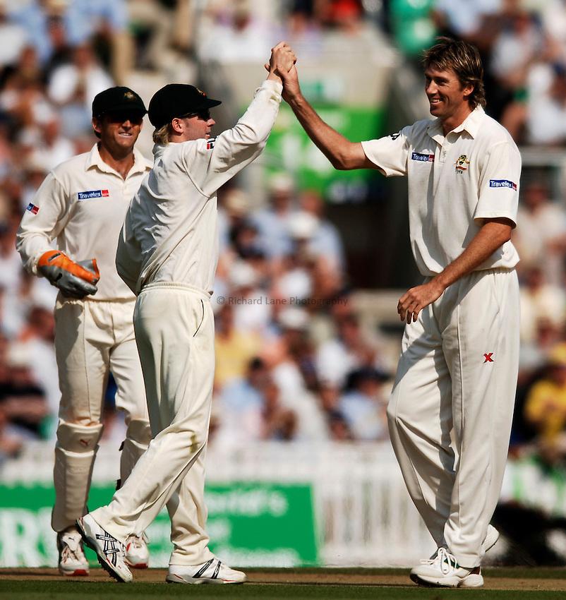 Photo: Glyn Thomas..England v Australia. nPower Test Series. The Ashes 2005..09/09/2005..Australia's Glenn McGrath (R) celebrates taking a wicket.