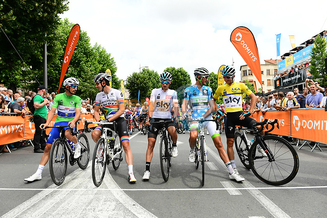 The leaders jerseys lined up for the start of Stage 2 of the 2018 Criterium du Dauphine 2018 running 181km from Montbrison to Belleville, France. 5th June 2018.<br /> Picture: ASO/Alex Broadway | Cyclefile<br /> <br /> <br /> All photos usage must carry mandatory copyright credit (© Cyclefile | ASO/Alex Broadway)